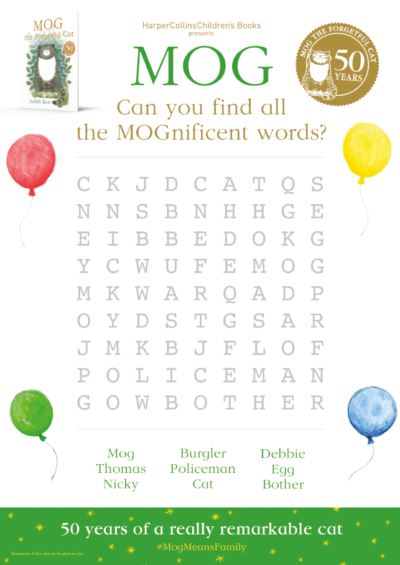 Mog the Forgetful Cat 50th Anniversary Wordsearch Activity Sheet