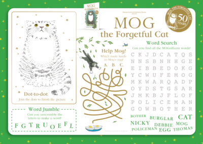 Mog the Forgetful Cat 50th Anniversary Activity Sheet
